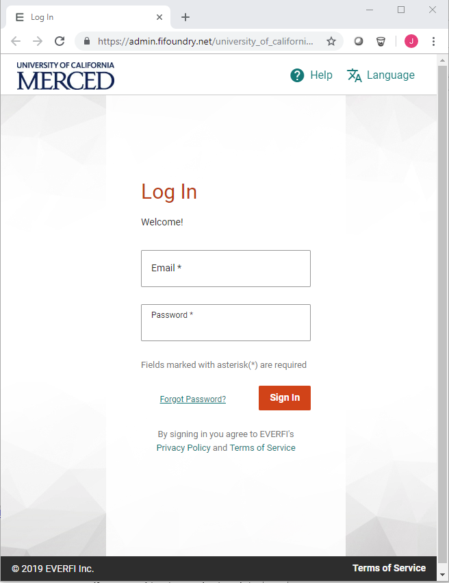 Everfi Login Screen: Log In